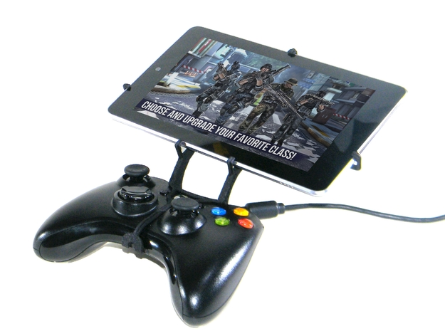Xbox 360 controller & Apple iPad mini Wi-Fi 3d printed Front View - A Nexus 7 and a black Xbox 360 controller
