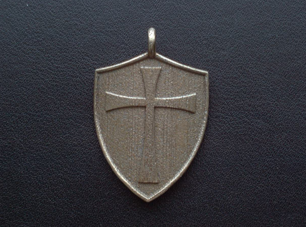 Medieval Shield Pet Tag / Pendant 3d printed Templar style cross