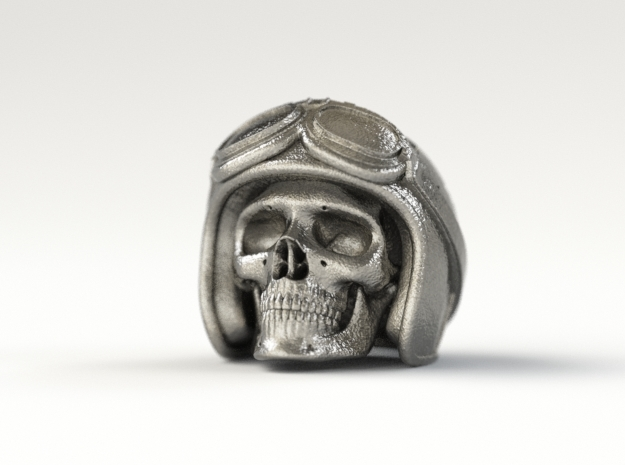 "Easy Rider Skull Pendant ""Silver"" 3d printed 25mm H Pendant in Polished Nickel Steel"
