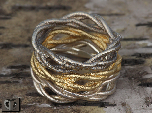 Ring - Wirl 3d printed Raw Silver, Matte Gold Steel, Stainless Steel
