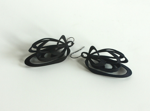 Ribbon Earrings 3d printed