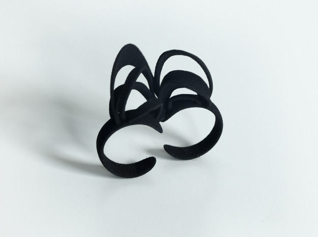 Ribbon Double Ring 6/7 3d printed Black