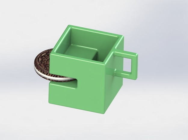 Square coffee cup with Oreo stand 3d printed