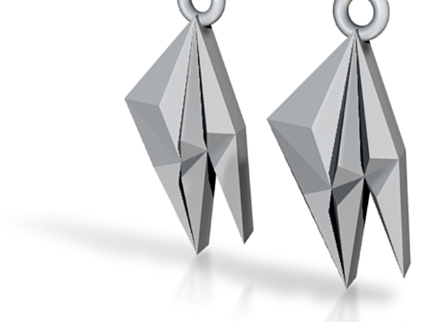 Origami: 6 Peaks Earrings 3d printed
