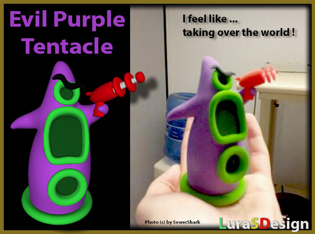 Evil Purple Tentacle LARGE 3d printed Photo shows the original 10cm Version by SewerShark