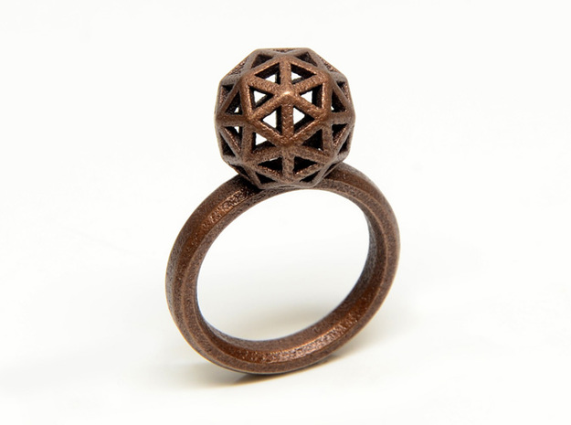 Geodesic Dome Ring size 7.5 3d printed Bronze Plated Stainless Steel