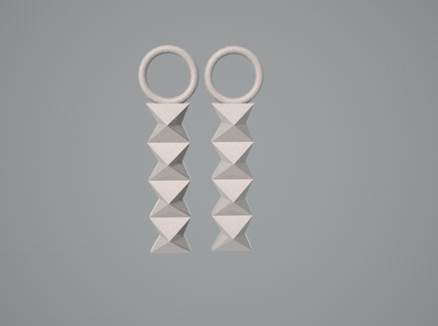 Origami: Waterbomb Base Chain Earrings 3d printed