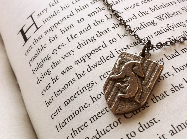 Hufflepuff Crest Necklace 3d printed