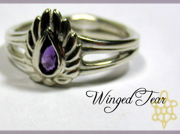 Winged Tear 3d printed Finished ring (socketed and polished)
