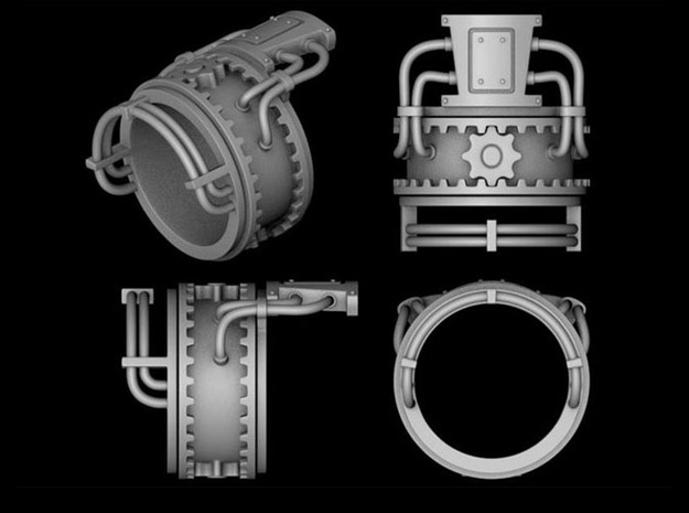 Steampower ring v2 3d printed 4 views