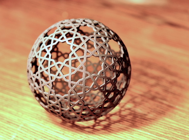 Islamic star ball with 9- and 10-pointed stars 3d printed