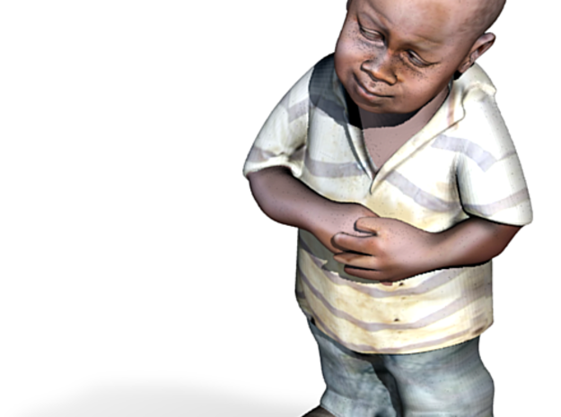 Skeptical African Child full figure 3d printed