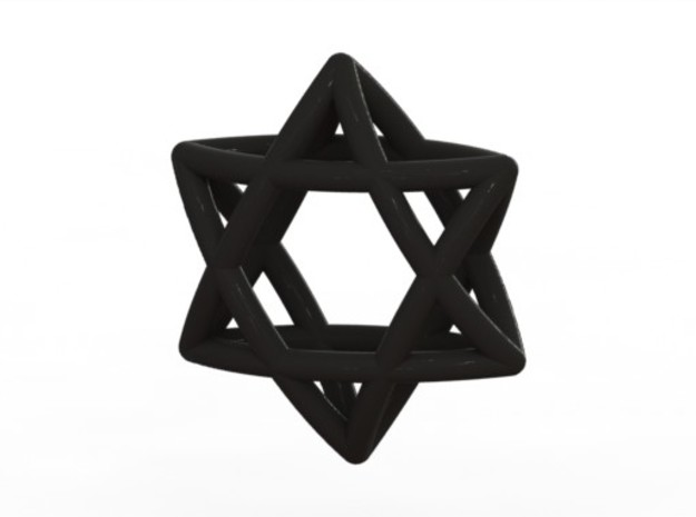 Star Of David earrings (pair) 3d printed Black (rendered)