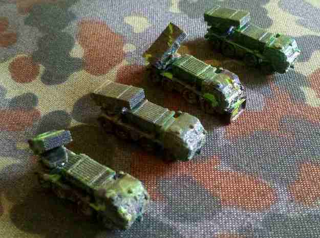 1/300 RM70 Rocket Launcher on Tatra 813 3d printed Models printed in Black Detail and painted