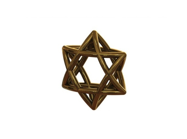 "Star Of David Pendant 3d printed ""Star of david"" Gold (renderen)"