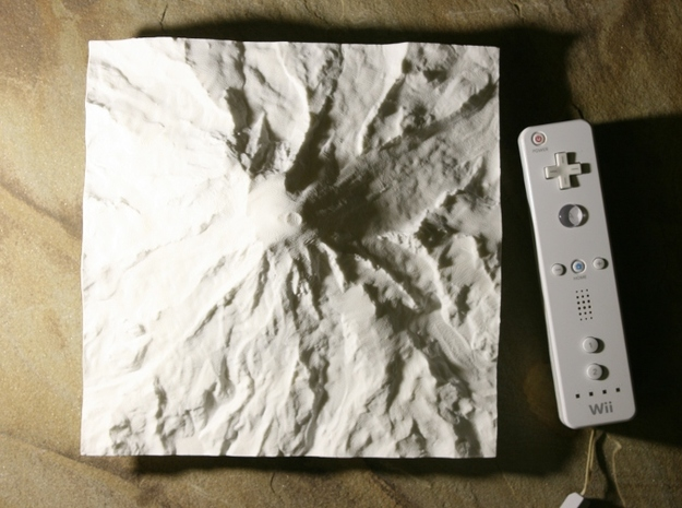 8'' Mt. Rainier Terrain Model, Washington, USA 3d printed Photo with Wiimote for scale