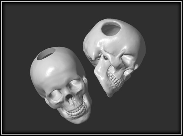Human Skull Bead - double pack 3d printed
