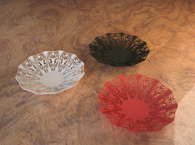 Perforated Bowl with artistic pattern 3d printed 3D example render - Designed for Strong & Flexible