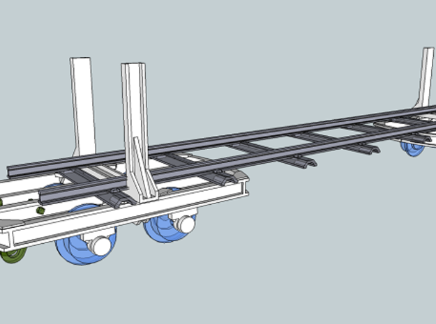 Swivel bolster wagon H0e (4) 3d printed Example on how they can be used. You get the white parts only!
