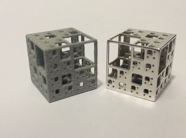 NewMenger - small fractal sculpture 3d printed Metallic plastic and Rhodium plated