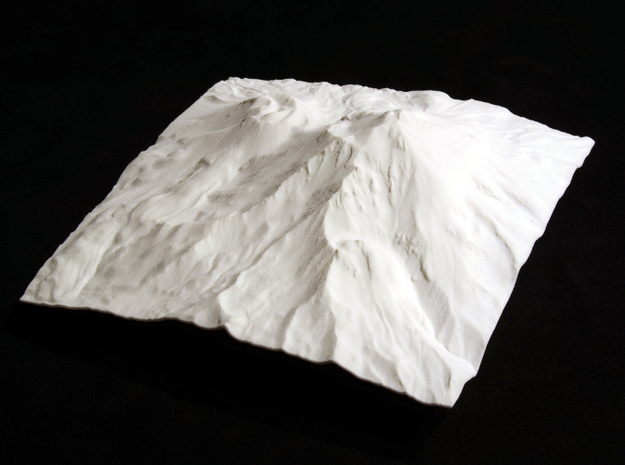 6'' Mt. Shasta Terrain Model, California, USA 3d printed Overhead view of model, from southeast
