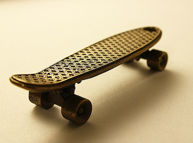 Mini Penny Board - 3D Printed in Stainless Steel 3d printed in Antique Bronze Steel