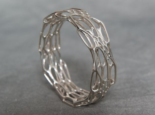 Morph Bangle sz M 3d printed In Premium Silver finish