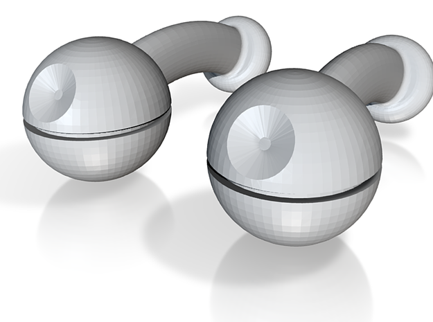 Death Star Cufflinks 3d printed