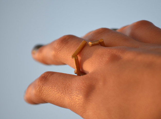 Stick ring 3d printed Stick Golden Ring