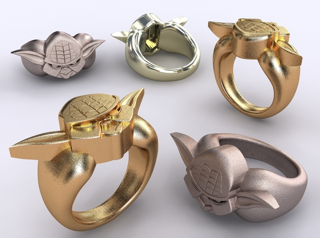 Yoda Ring 3d printed Stainless Steel, Gold Plated Matte & Premium Silver renders