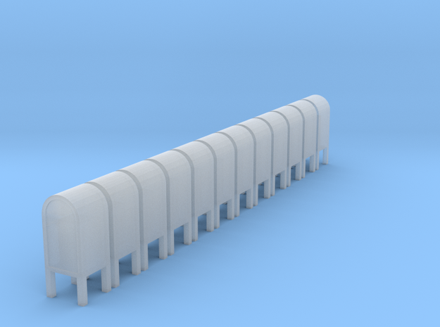 N Scale (1:160) mailboxes (Set of 12) 3d printed