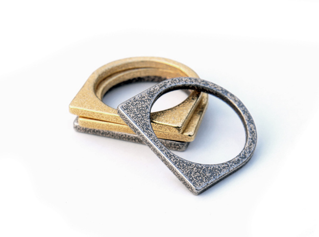 Layer Ring(s) (US Size 6.5) 3d printed Stainless Steel / Gold Plated Glossy