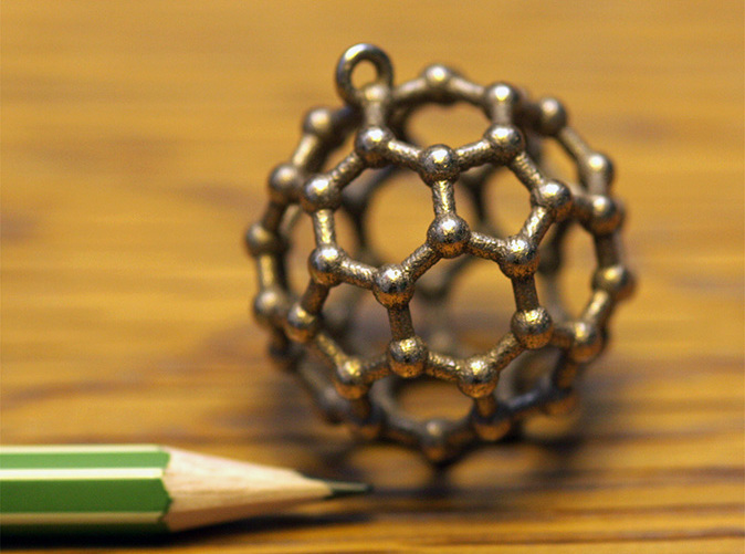 Buckyball C60 pendant, 3D printed in Stainless Steel