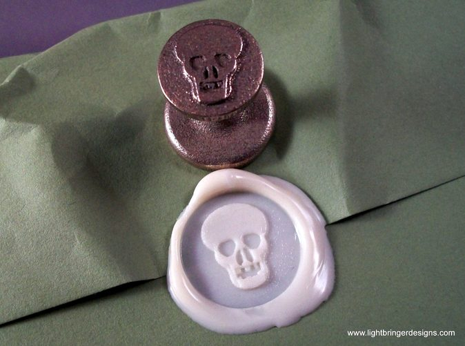 Skull wax seal with  impression in Bone White sealing wax