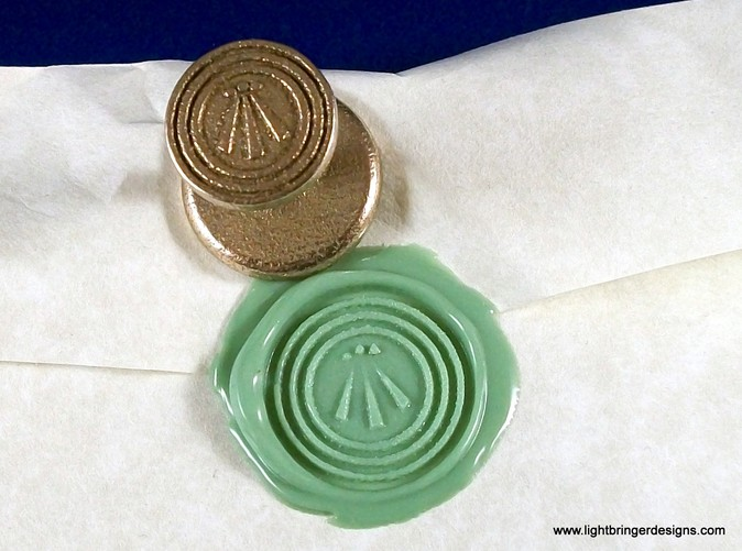 Awen wax seal with  impression in Light Green sealing wax