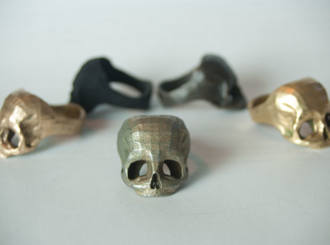 Stainless Steel Skull Ring by Bits to Atoms