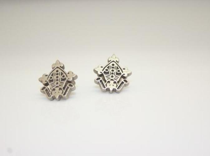 Photograph of the 3D printed Logo Cufflinks in Stainless Steel