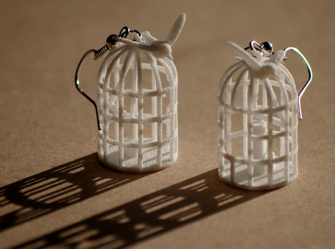 Bird cage earrings printed in white