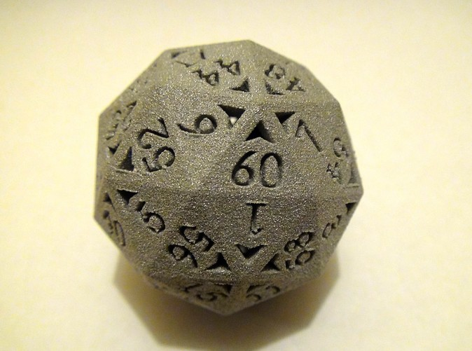 60 Sided Die in Alumide