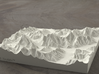 6''/15cm Baltoro Glacier and K2, Sandstone 3d printed Radiance rendering from the West, looking up the Baltoro to Gasherbrum IV