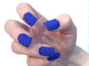 Cube Nails (Size 2) 3d printed Blue Strong and Flexible Polished