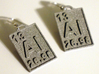 Aluminum Periodic Table Earrings 3d printed Photos of the earrings printed in polished alumide metallic plastic.