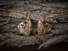 Butterfly Earrings (S) 3d printed Material: Raw Bronze
