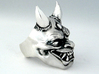 Japanese Hannya Demon 3d printed I personally hand polished this raw silver ring giving it a satin finish and also added the patina.