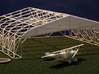 1/144 Bessonneau WWI Hangar Frame 3d printed With a Nieuport 12 and US quarter, for scale.