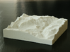 3''/7.5cm Oberland Peaks, Switzerland, Sandstone 3d printed Photo of model, looking South up the valley toward Lauterbrunnen.