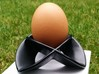 Egg Cup 1 (thick) 3d printed Satin black ceramics, with egg