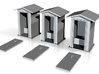 HO-Scale Peaked Roof Outhouse (3-Pack) 3d printed Shapeways Rendering