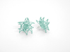 Aster Earrings (Studs) 3d printed Custom Dyed Color (Teal)