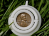 Penny Spinner (Base and Spinner) 3d printed In White Plastic - As a pendant